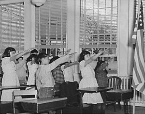 The Bellamy salute to flag